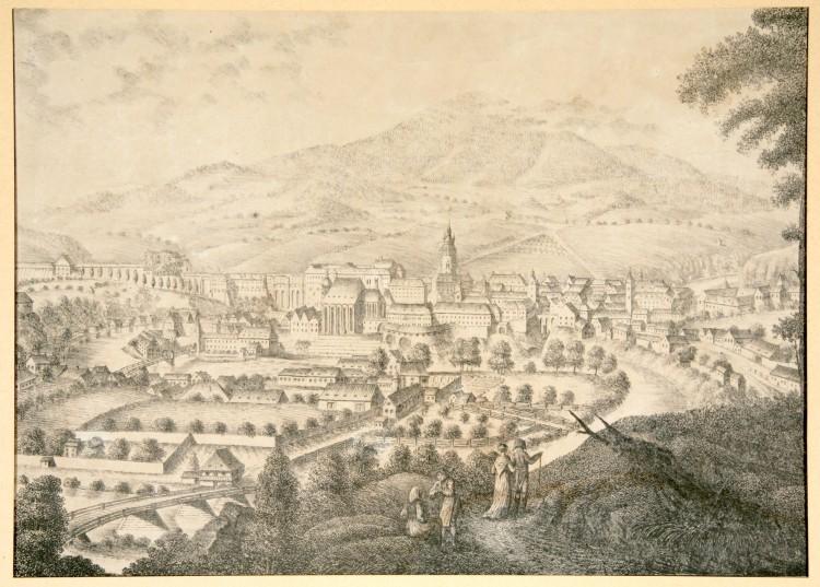 Město od jihu, J. Langweil, litografie M. Falta,  Český Krumlov, 1819