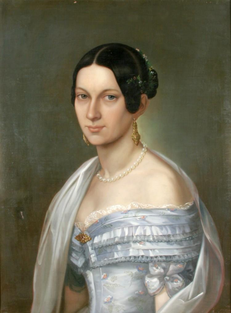 Ch. L. Philippot: Portrét měšťanky, olejomalba, Český Krumlov, 1843