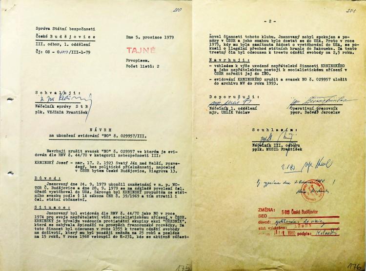 """17. V říjnu 1979 bylo Josefu Krnínskému umožněno vystěhovat  se do USA. Současně byl navržen na """"Index nežádoucích osob"""", což znamenalo, že se do ČSSR již nemohl vrátit."""