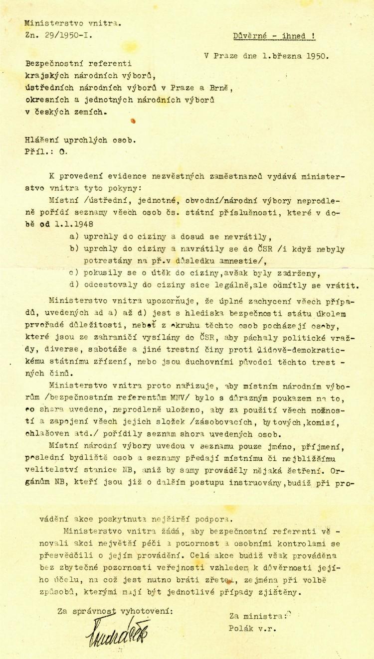 04. Pokyny k evidenci obyvatel, kteří uprchli na Západ nebo se o odchod pokusili, 1950.